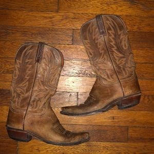 1883 Lucchese brown leather cowboy western boots